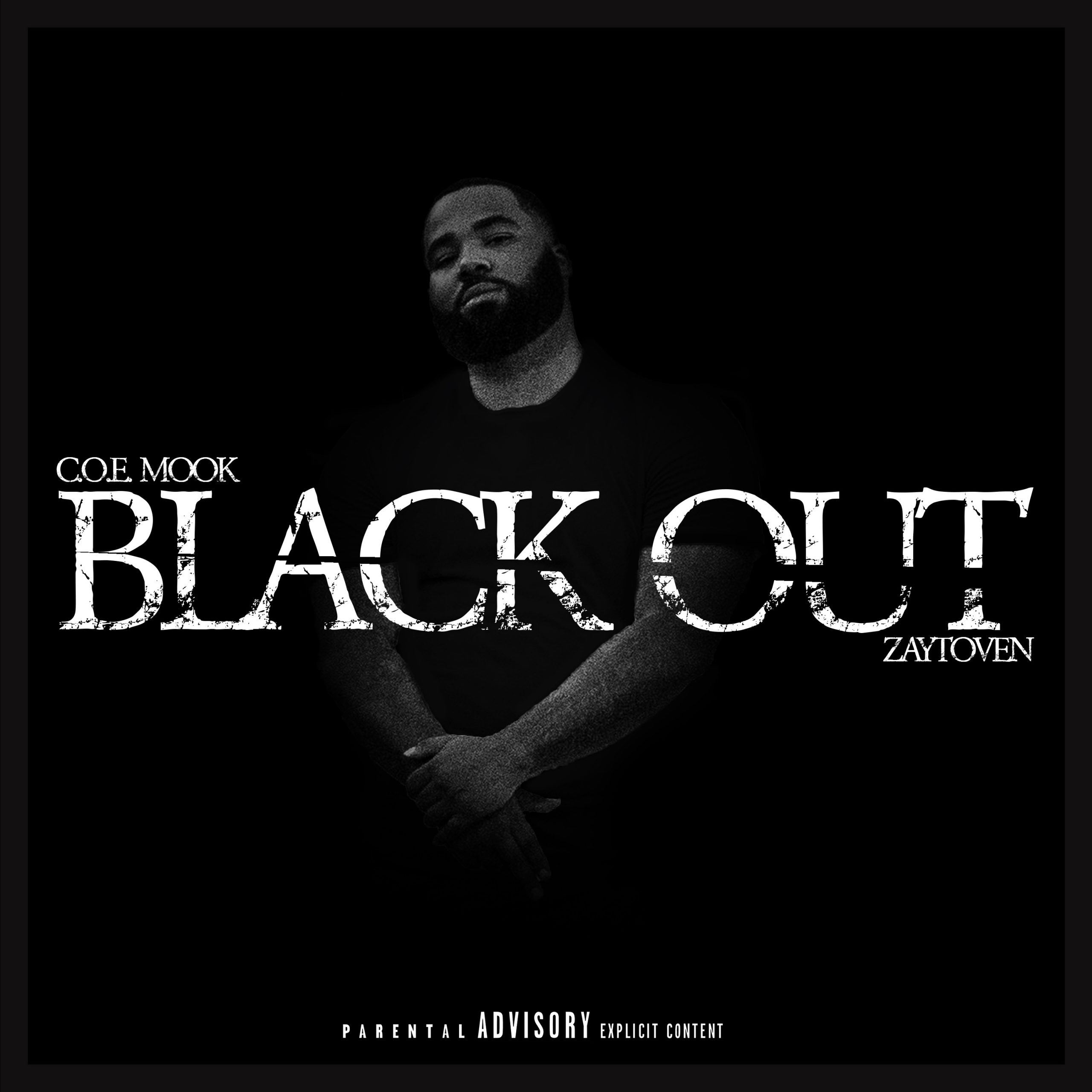 Black Out Text with picture of artist C O E Mook